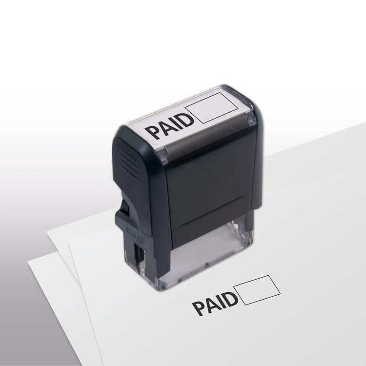 Self -Inking Paid w/ Open Box Stamp with personalization