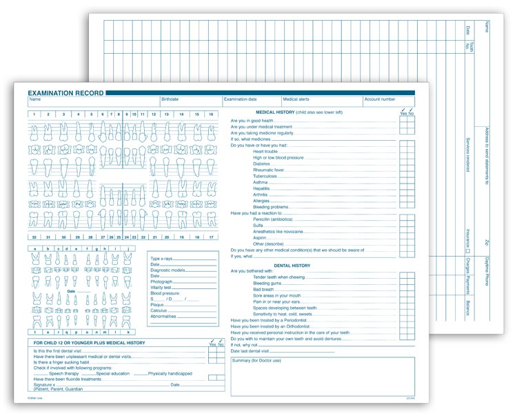 Multi-use Dental Exam Record with customization