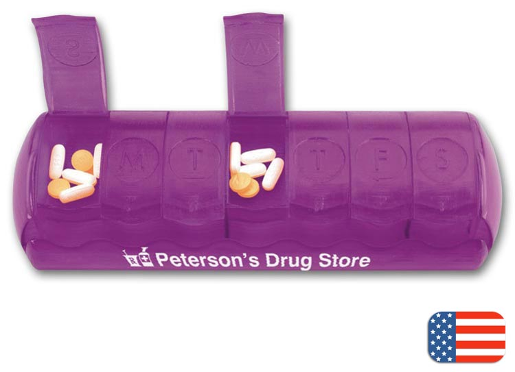 7-Day Pill Box with your business name imprinted on the front.   Also printed in braille for convenience.
