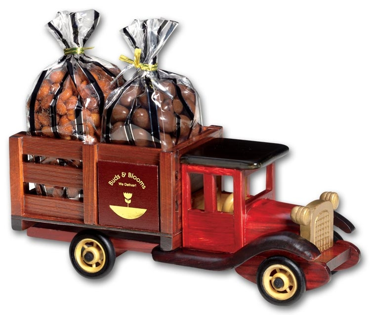 Custom corporate gift with a truck filled with chocolates and your company name on both sides.