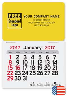 2017 monthly magnetic calendar with rectangle shape.