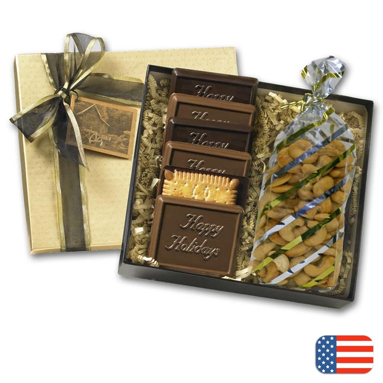 Gift box with wisconsin variety package with personalization