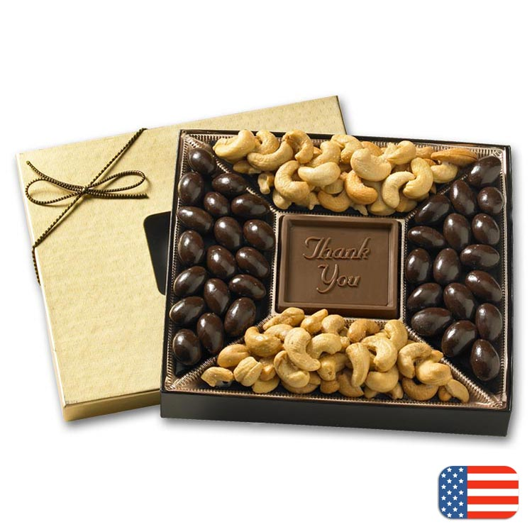 Custom premium confection covered with almond and cashews