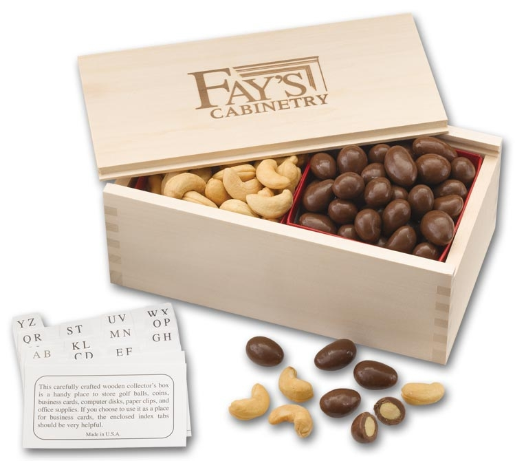 Chocolate Almonds & Cashews In a Wooden Collector's Box