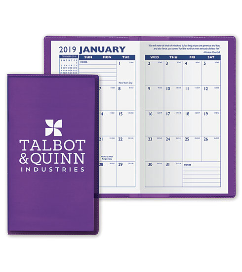Our 2019 monthly planners are customized online and printed on vinyl stock.