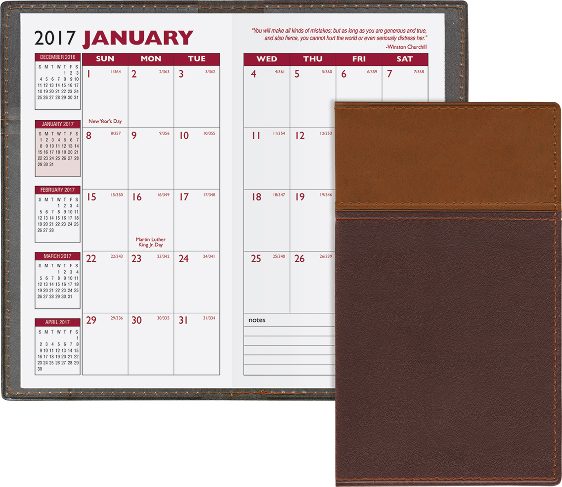 Customized executive pocket planners for the year 2017.