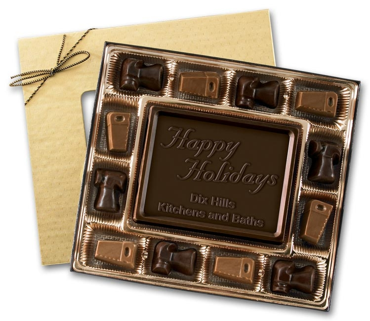 Dar chocolate truffles in a holiday gift box specially designed for contractors.