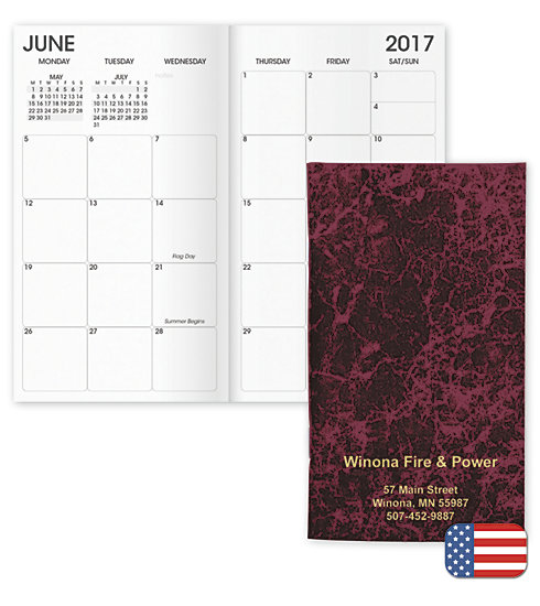 2017 monthly pocket planners available in burgundy, dark green, dark blue, or gray marble patterns.