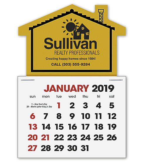 2019 self-adhesive calendar with a house shape design.
