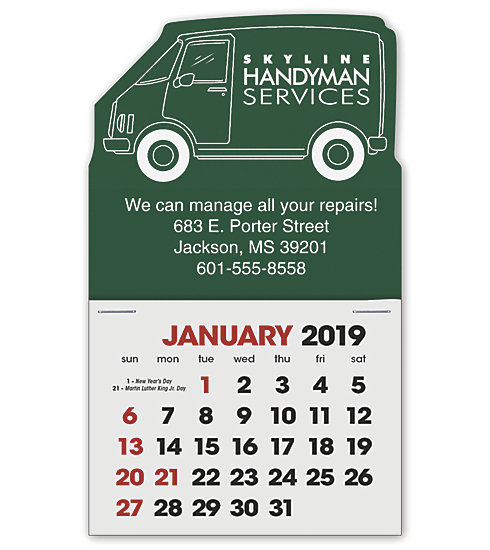 2019 label calendars custom printed with a delivery van design.