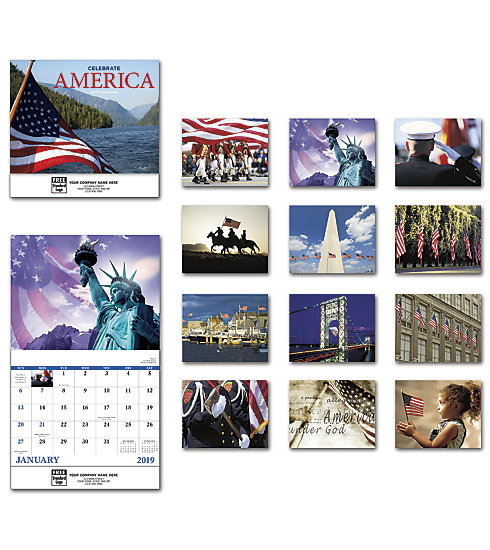 2019 wall calendar with patriotic theme and custom printed with your company information and logo.