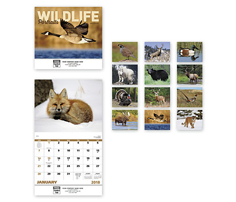 Custom 2018 wall calendars featuring portraits of wildlife.