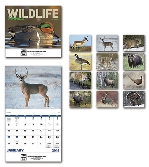 Customized 2019 wall calendars featuring portraits of wildlife.