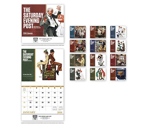 2018 wall calendars featuring nostalgic Norman Rockwell images. Saturday Evening Post edition.