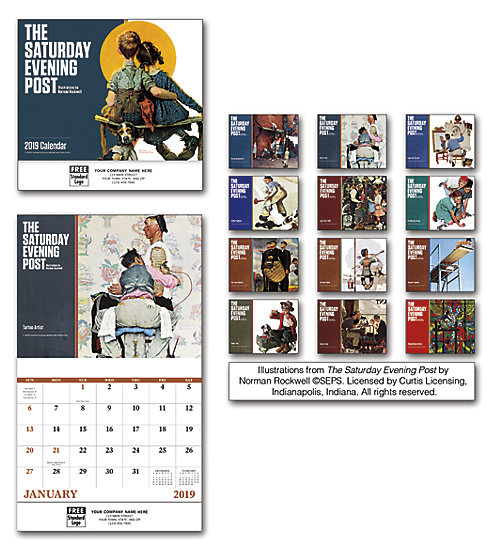 2019 wall calendars featuring nostalgic Norman Rockwell images. Saturday Evening Post edition.