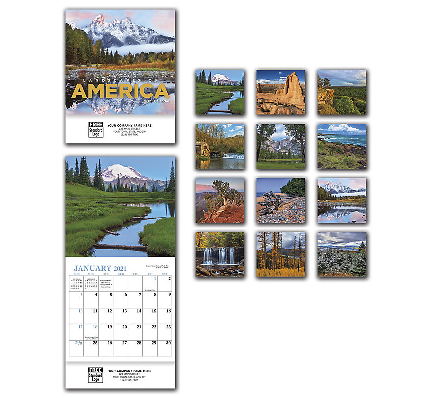 2021 mini calendar with custom imprint and 12 pictures of landscapes of America.