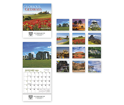 Custom printed 2018 compact wall calendar with images of glorious world locations.