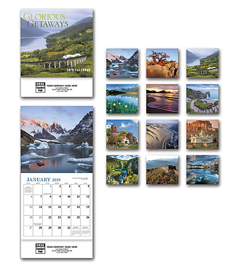 Custom printed 2019 compact wall calendar with images of glorious world locations.