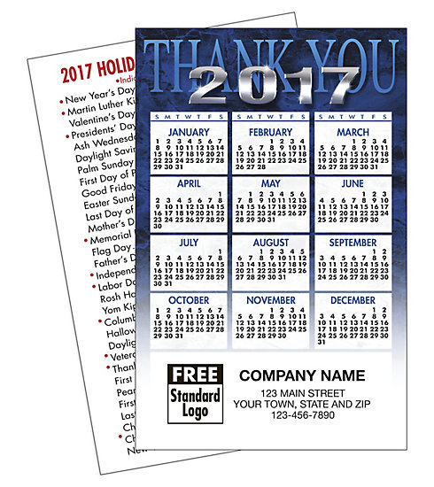 Custom 2017 wallet calendar with blue thank you design and customization on front.