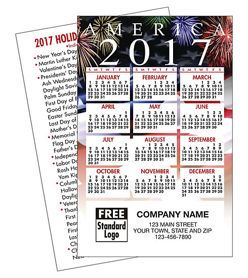Show your customers you put America first every day when you give them a customized 2017 patriotic wallet calendar.