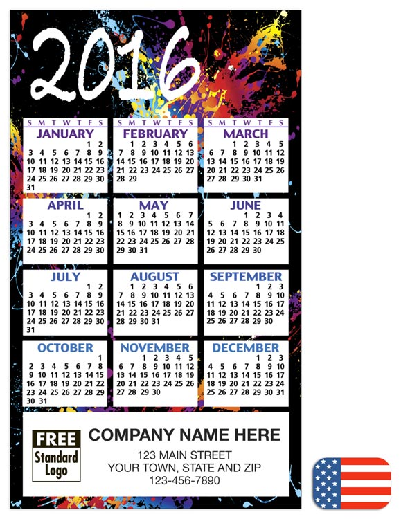 2016 magnet calendar black abstract ref 109777