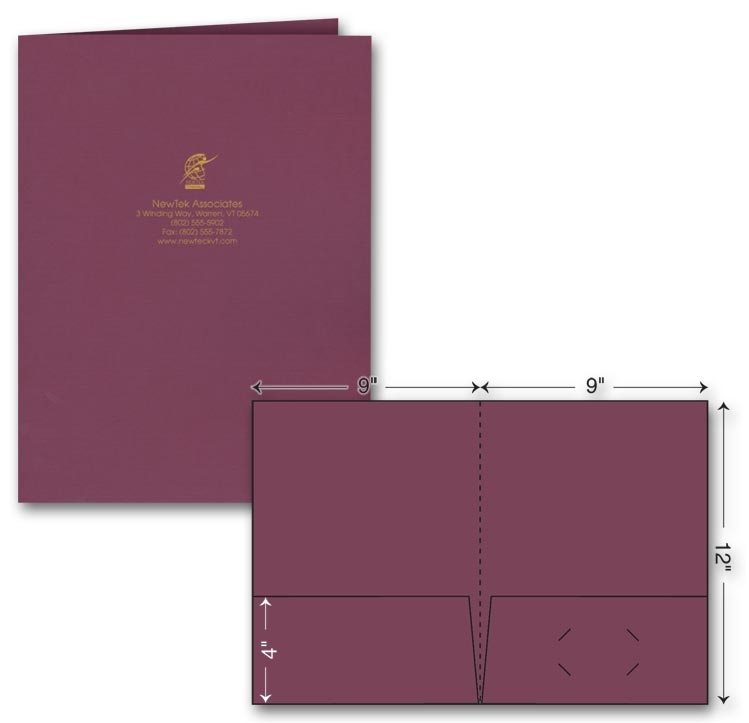 Presentation folders that are foil stamped