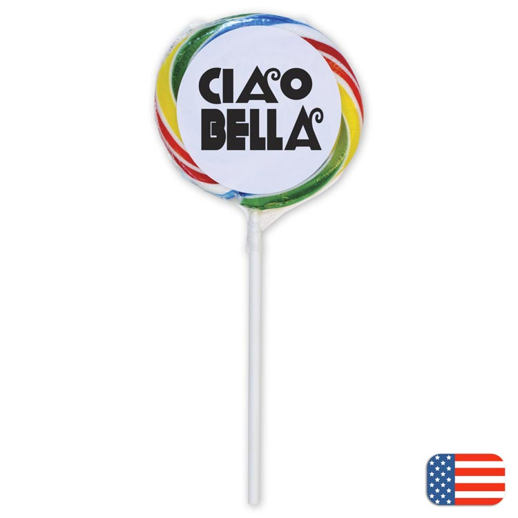 Old fashioned rainbow whirly pops with personalization