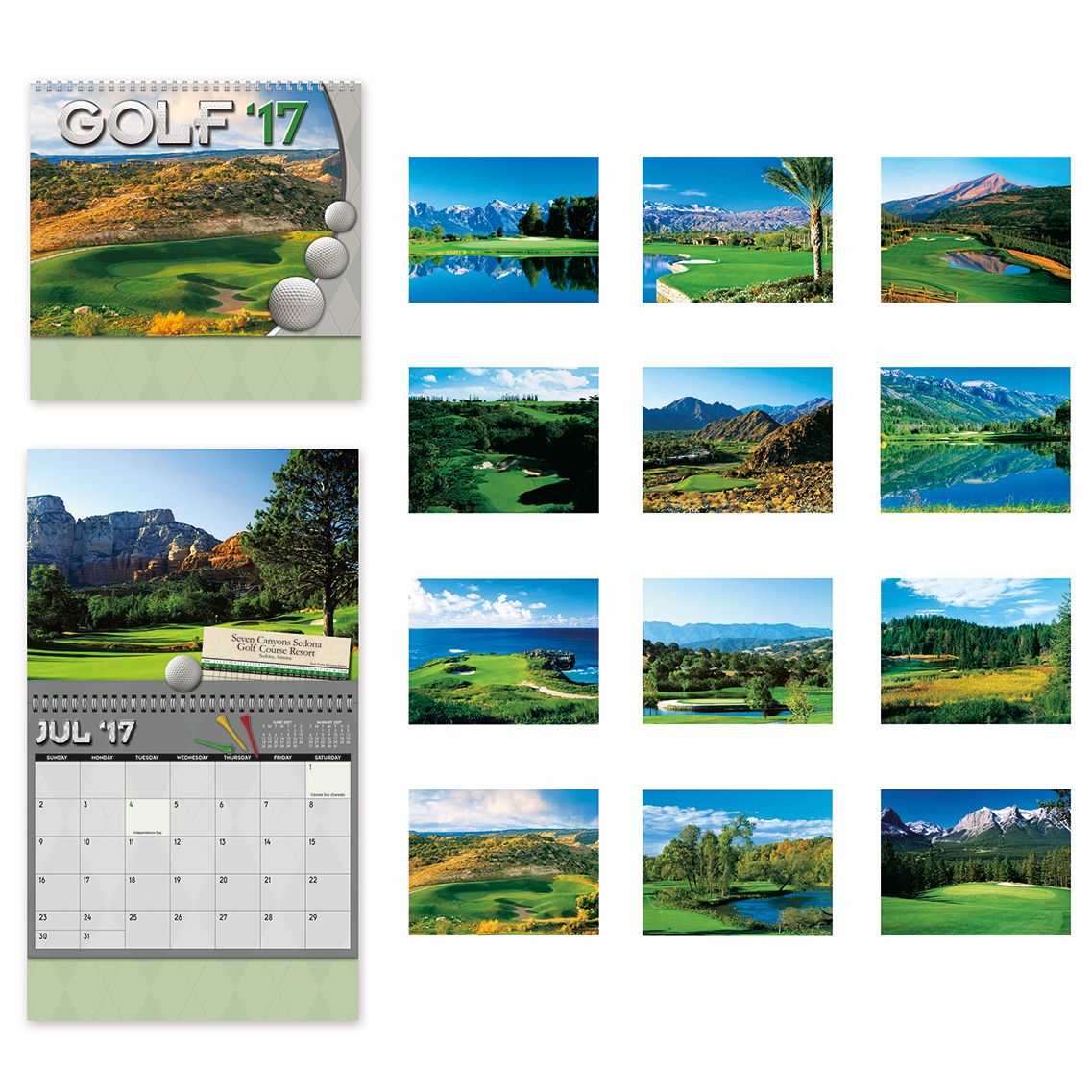 Custom printed 2017 wall calendars with pictures of golf courses.