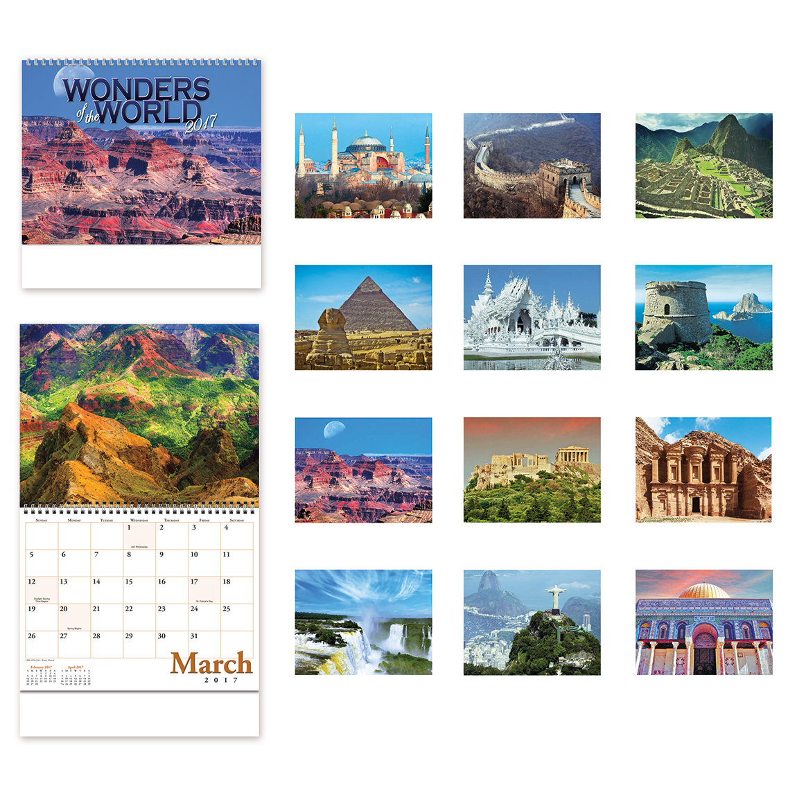 Custom printed 2017 wall calendars with views of the world.