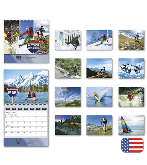 Customized 2017 wall calendar with photos of the great outdoors.