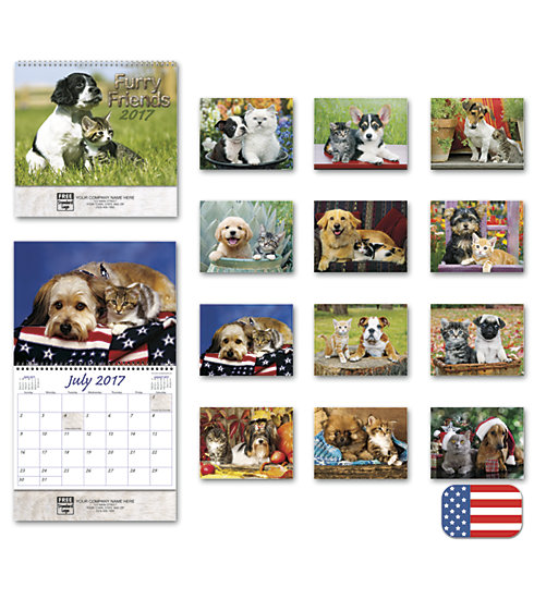 Customized calendars with full color images of cats and dogs for the year 2017.