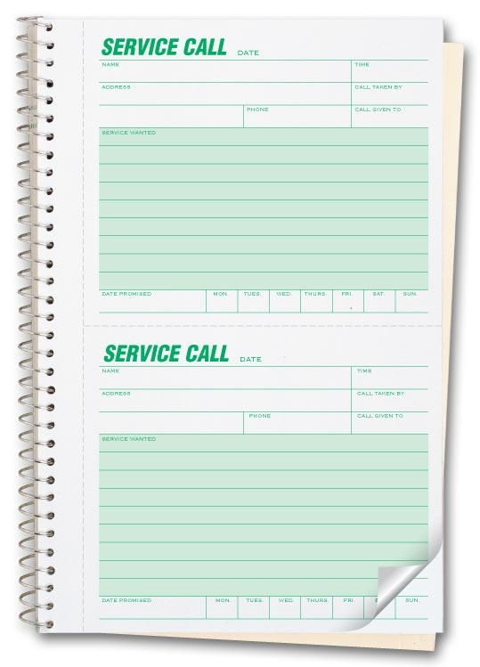 Service call forms in books with 2 form per page, bound to the left with consecutive numbering.