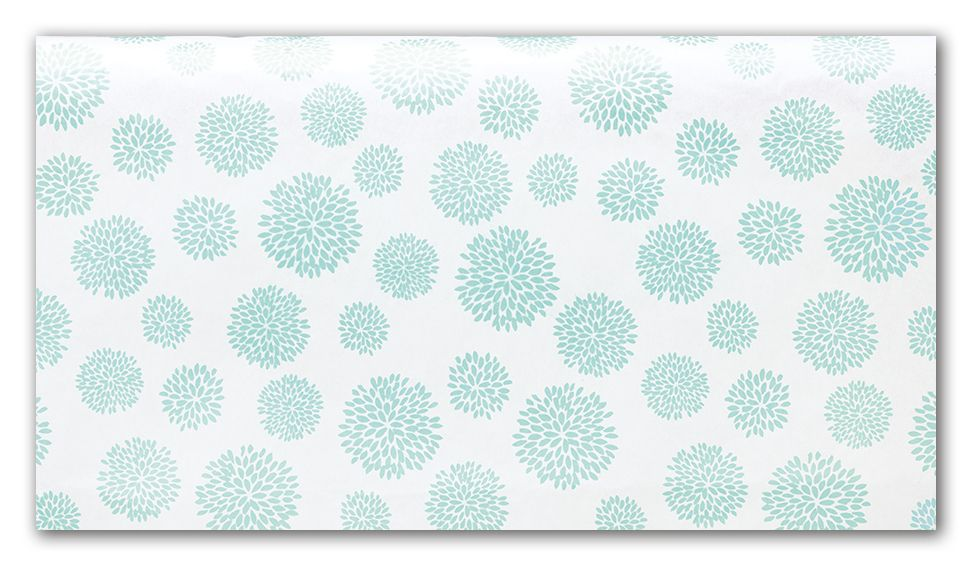 Gorgeous white tissue paper with blue flowers can be used for florists, gifts, or any retailer.