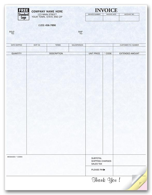 13034G - Custom Imprinted Laser Invoices