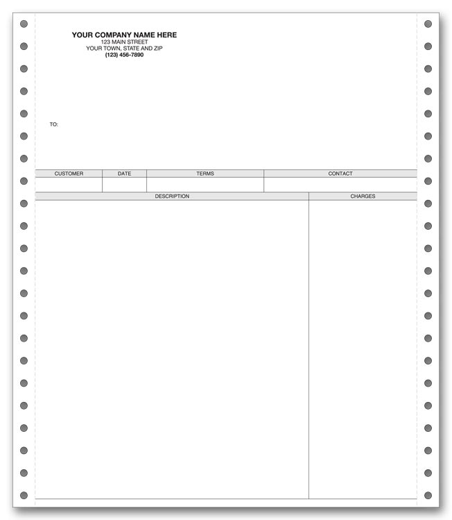 These invoices are intended for use with a pin feed printer and come in a duplicate format.