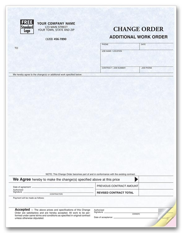 13124G - Laser Change Order Forms / Additional Work Order
