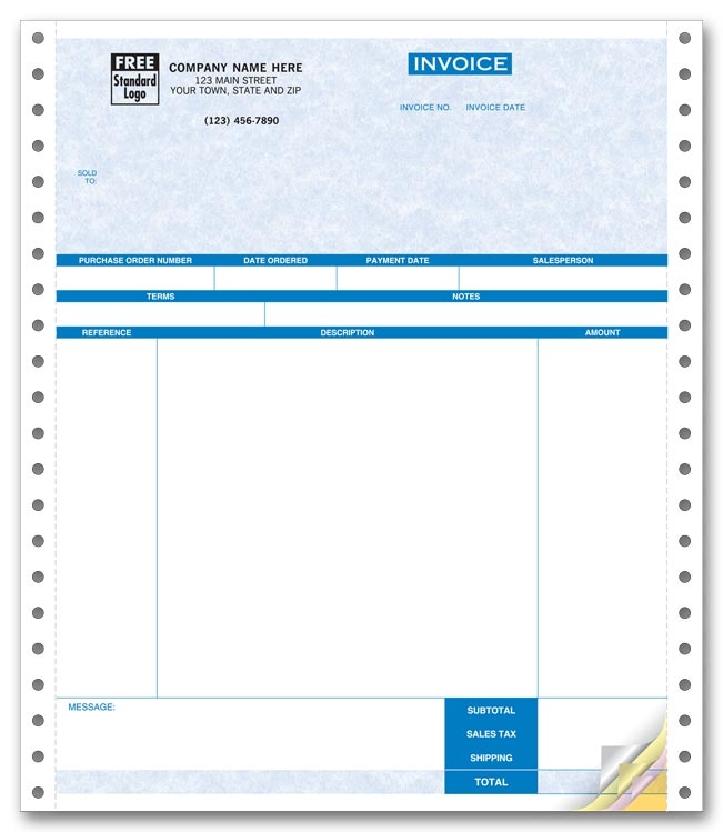 13189G - One-Write Plus Invoices - Continuous Service Invoice
