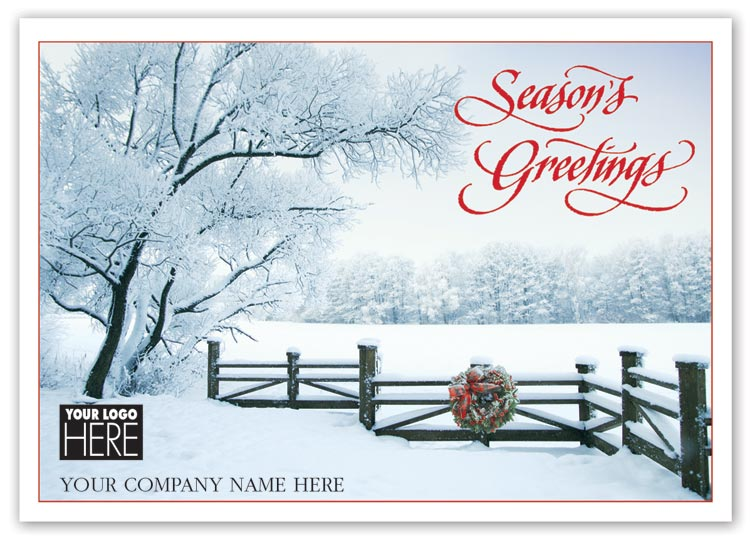 Beautiful holiday card with sugar branches imagery and imprint limited to black ink.