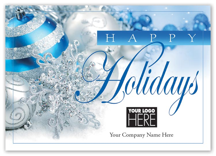 Holiday logo cards with wonder and delight designs and imprint options