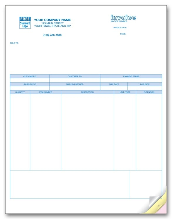 Perfectly simple Laser Invoices to record all necessary infomration.