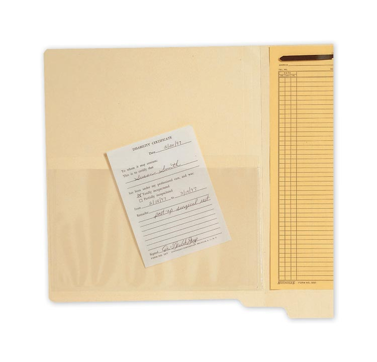 Custom Transparent Top Load File Pockets are optimal for retrieving necessary patient information.