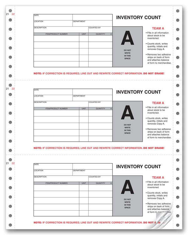 Custom Physical Inventory Count Forms