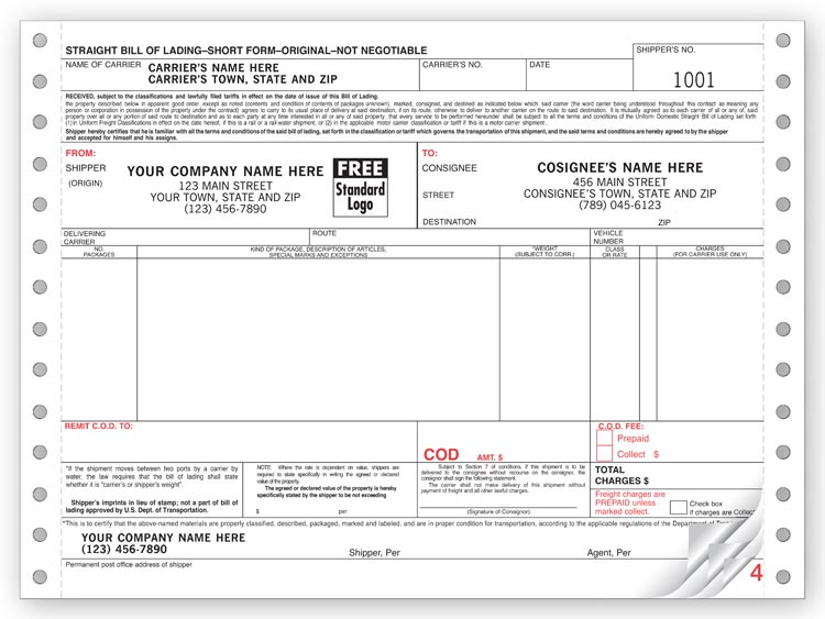 Custom Cont. Continuous Bill of Lading Form