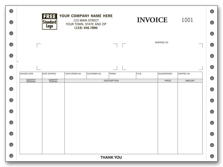 Custom Continuous Invoice that has plenty of room for recording details. Works on any continuous printer.