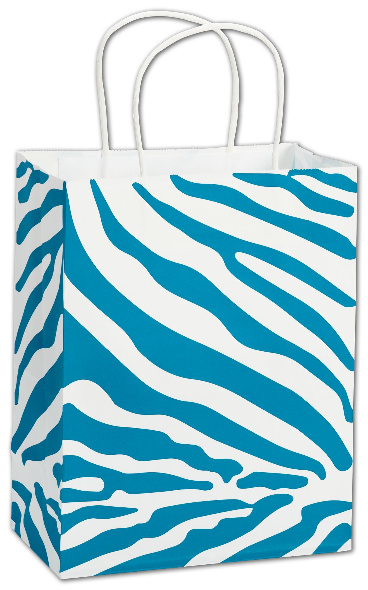 This sturdy Paper Shopping Bag with a  Turquoise Zebra Print makes wrapping or gift giving fun.