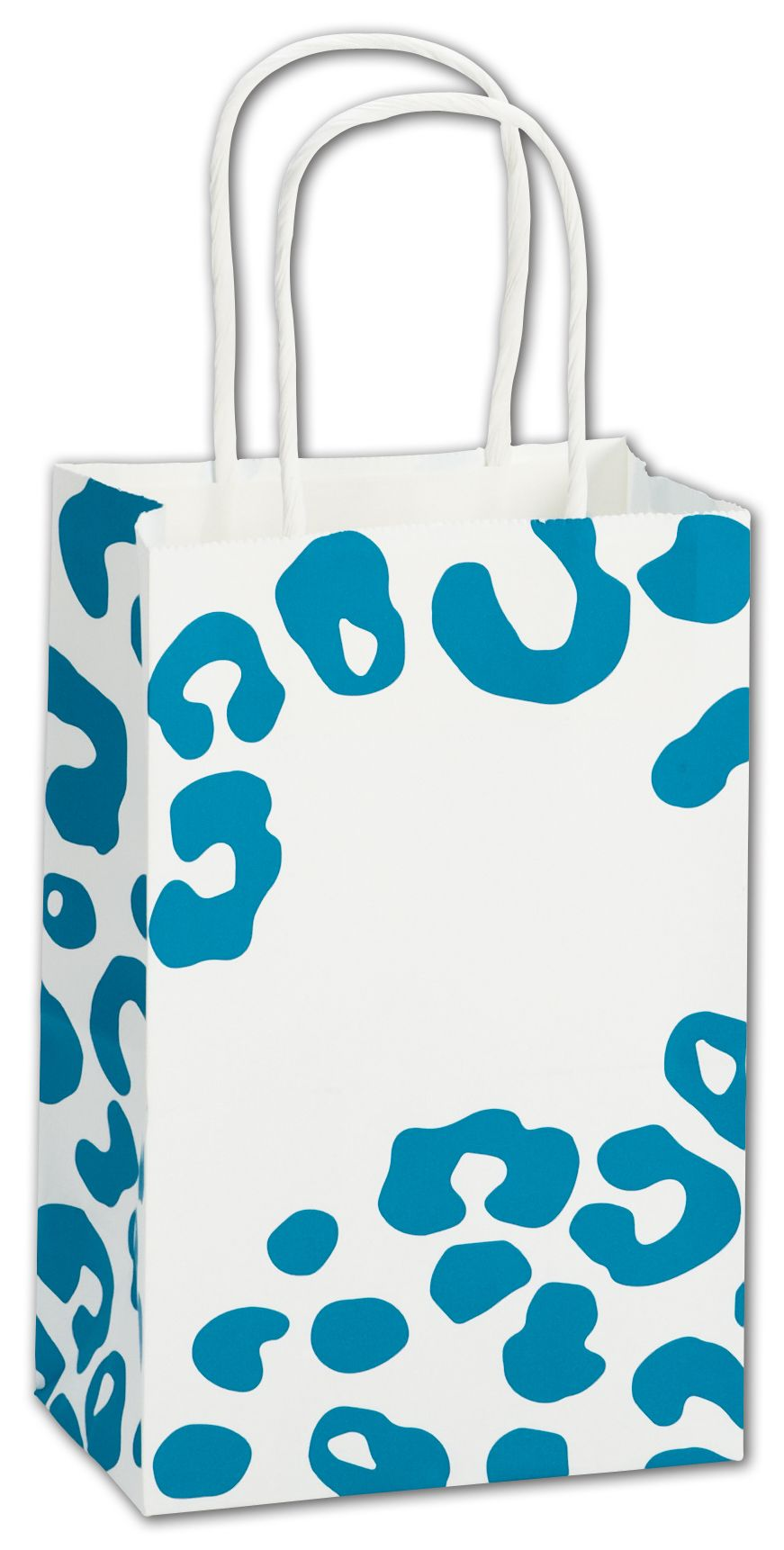 This sturdy Paper Shopping Bag with a  Turquoise ah Print makes wrapping or gift giving fun.