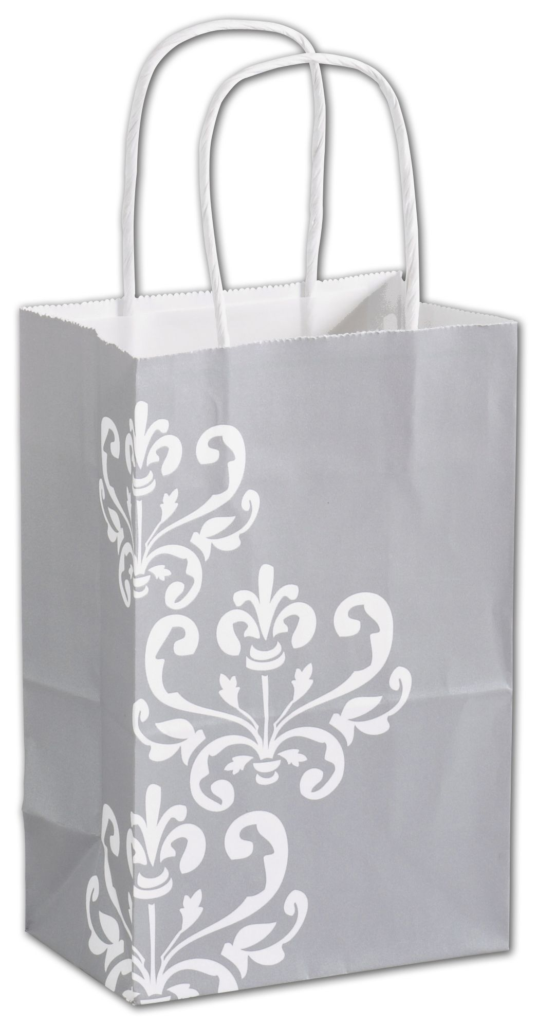 Wrap your items in style with these attractive and sturdy grey paper shopping bags with a white accent.