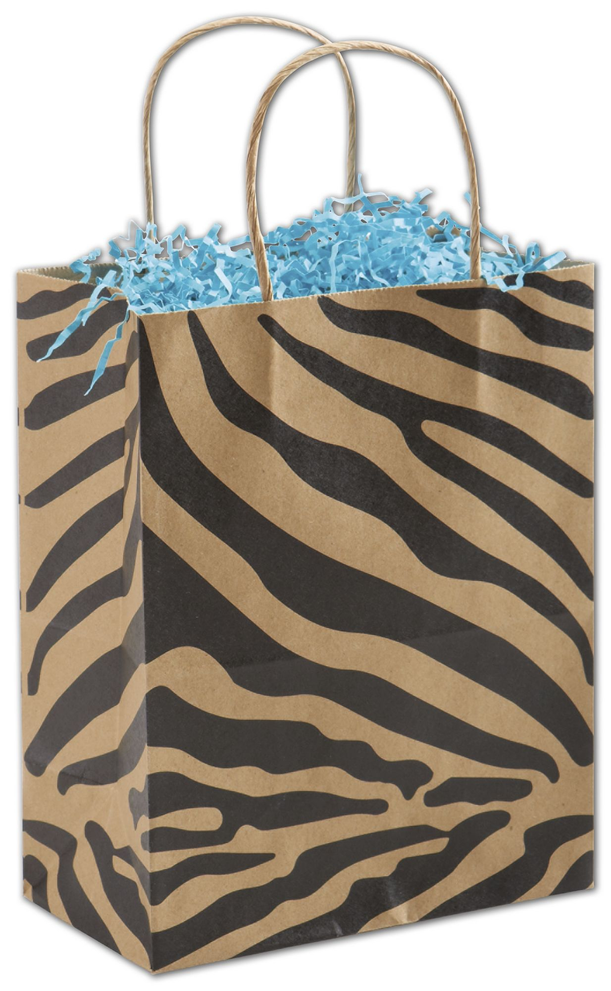 These sturdy kraft bags with a bold black zebra print package your purchases or gifts stylishly.