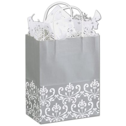 Wrap your items in style with these attractive and sturdy grey shopping bags with a white accent.