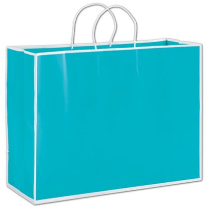 These blue bags with a white border are an elegant way to package your gifts or purchases.